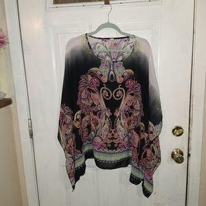 123 silky poncho type blouse women's one sz